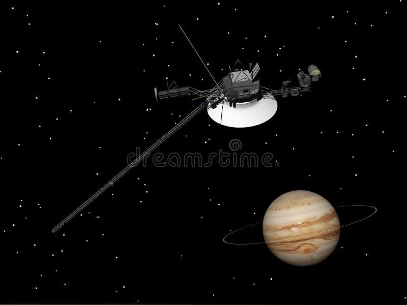 Veicolo spaziale del viaggiatore vicino a Giove ed al suo anello sconosciuto - 3D rendono illustrazione di stock