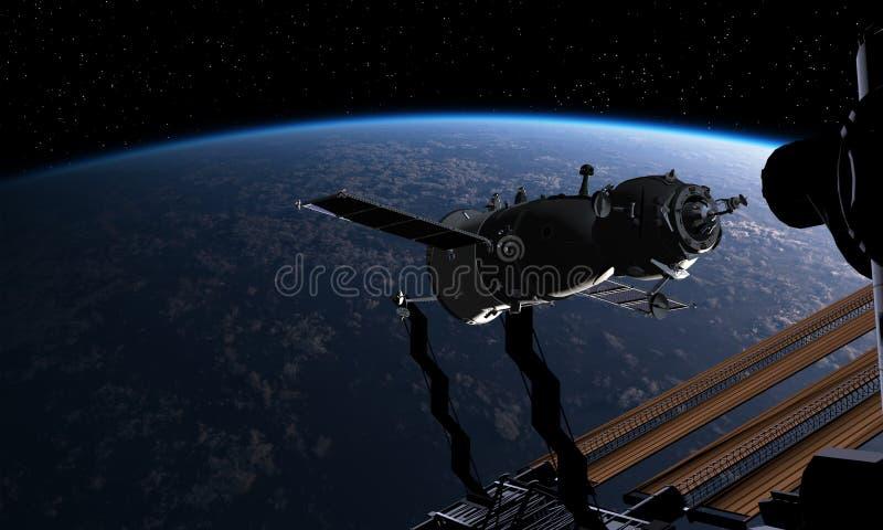 Veicolo spaziale e spacestation all'orbita terrestre illustrazione di stock