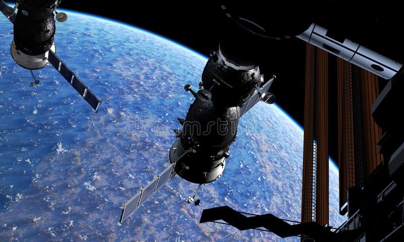Veicolo spaziale e spacestation all'orbita terrestre royalty illustrazione gratis