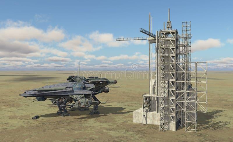 Veicolo spaziale e stazione spaziale in un paesaggio illustrazione di stock