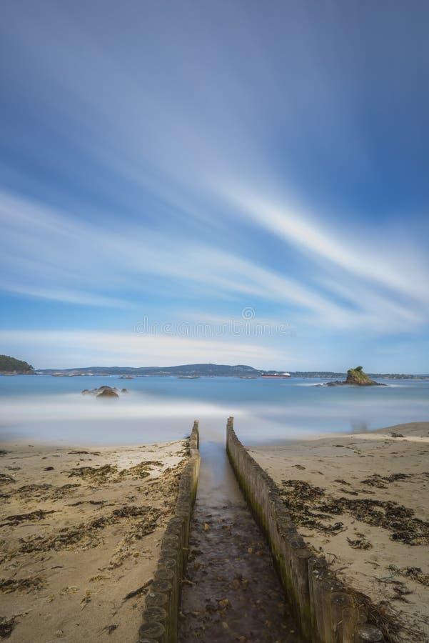 Veigue海滩狭田, La拉科鲁尼亚队-西班牙 免版税库存照片