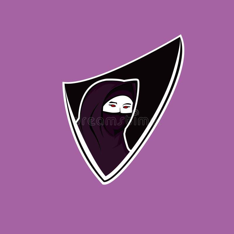 Veil girl gaming logo vector illustration