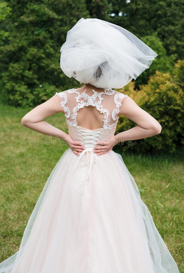 Veil makes a hat on bride`s head while she holds her hands on back. Bride in veil in the park outdoors, back view stock photo