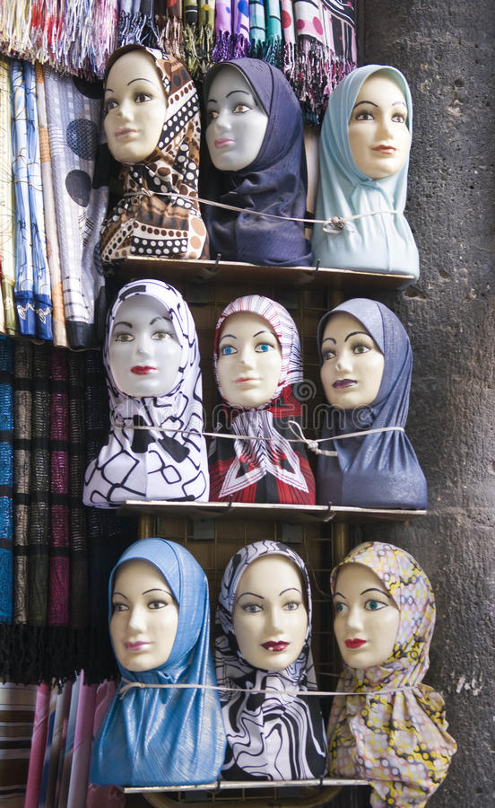A veil shop in Damascus royalty free stock image