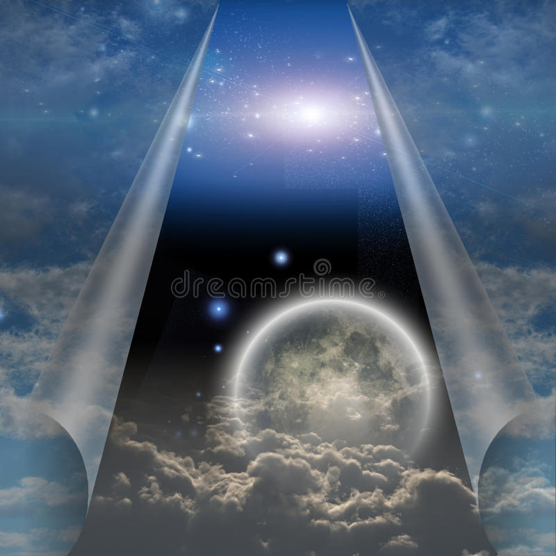 Veil of sky pulled open. To reveal other world royalty free illustration