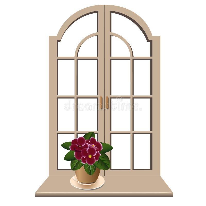 Veilchen auf einem Fensterbrett lizenzfreie abbildung