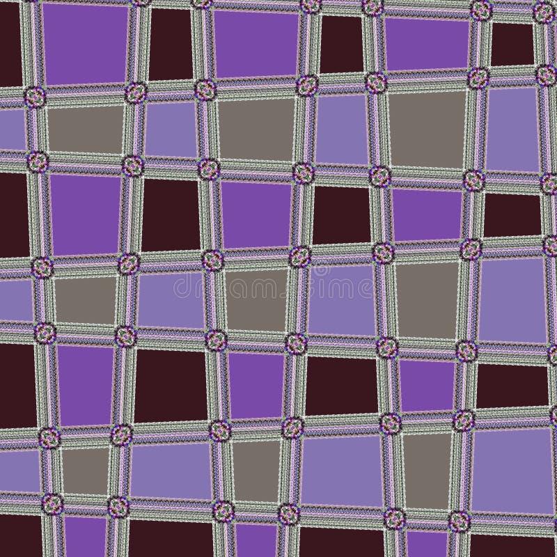 Veilchen und Braun gerundeter quadratischer abstrakter Dots Geometric Pattern Background lizenzfreie abbildung