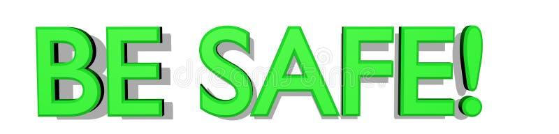 VEILIG BEN! 3D Tekst in Heldergroen op Witte Achtergrond royalty-vrije illustratie
