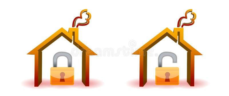 Veilig en onveilig huis vector illustratie
