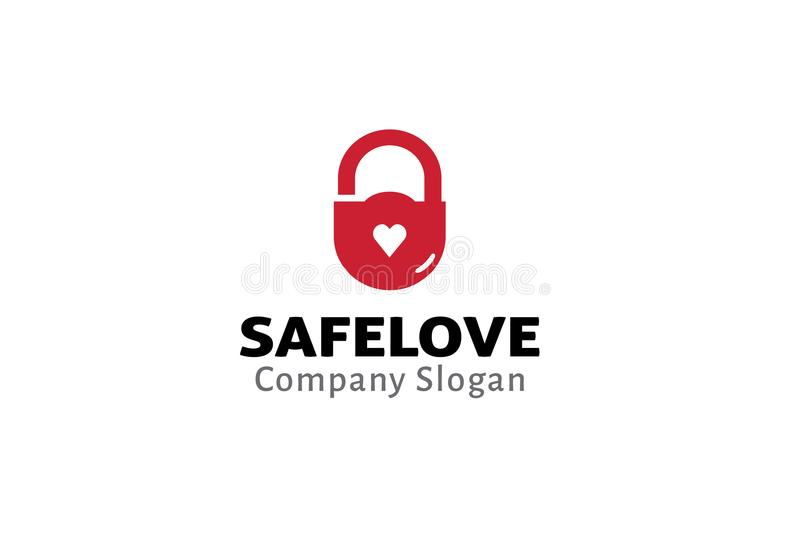 Veilig Liefdeslot Logo Design Illustration stock illustratie