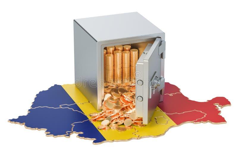 Veilige doos met gouden muntstukken op de kaart van Roemenië, het 3D teruggeven royalty-vrije illustratie