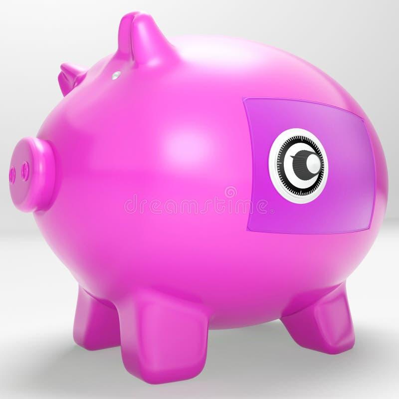 Veilige Piggy toont de Veilige Besparingen Gesloten sloten royalty-vrije illustratie
