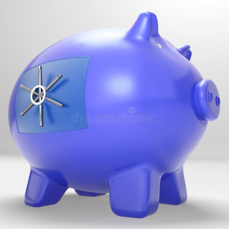 Veilige Piggybank toont Beveiligd Beschermd Besparingencontant geld royalty-vrije illustratie