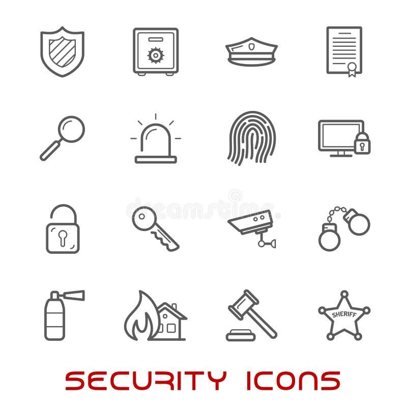 Veiligheid en beschermings de dunne pictogrammen van de lijnstijl stock illustratie