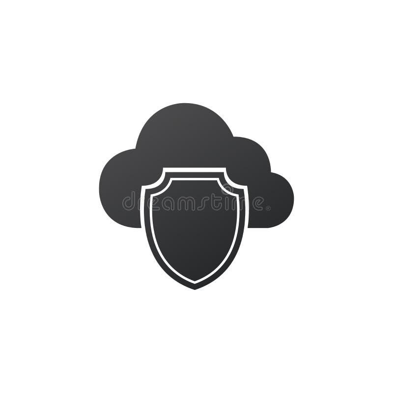 Veiligheid en gegevensbescherming, wolk en schild cyber veiligheid, antivirus concept Vectordieillustratie op wit wordt ge?soleer royalty-vrije illustratie