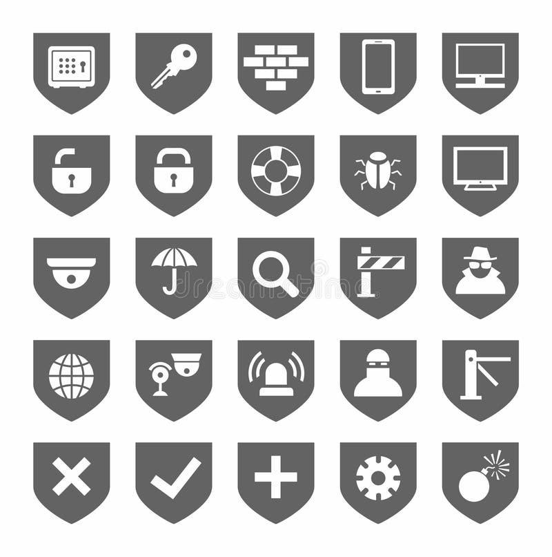 Veiligheid, grijze pictogrammen, zwart-wit, vector vector illustratie