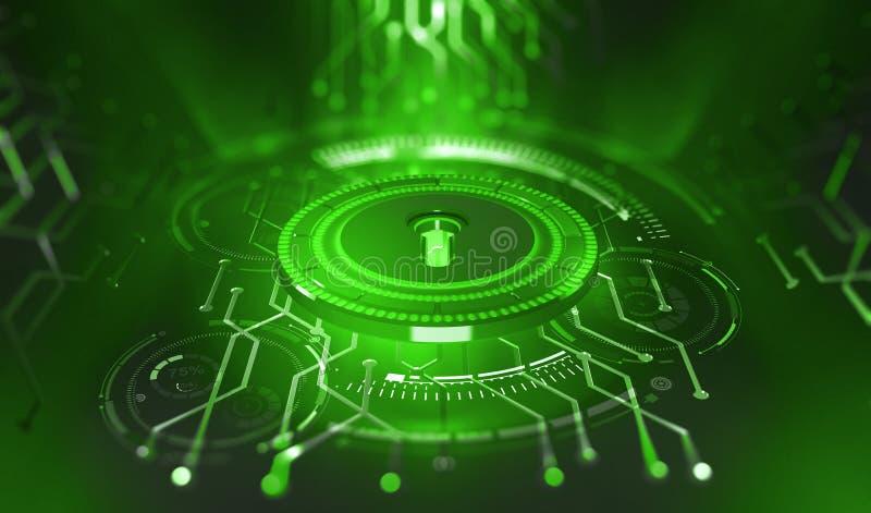 Veiligheid online Gouden Tekst op Donkere Achtergrond Digitale sleutel en identificatie royalty-vrije illustratie