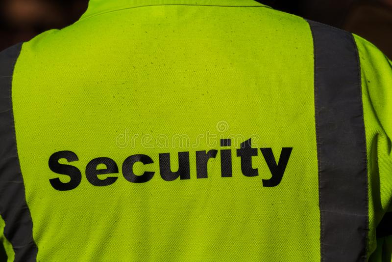 Veiligheid op rug van werkjas royalty-vrije stock fotografie