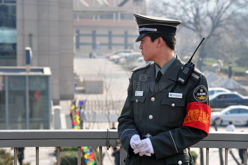 Veiligheid in Peking China stock afbeeldingen