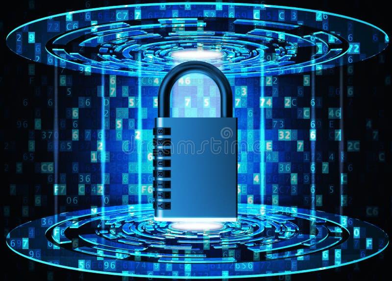 Veiligheid, privacy, beschermings en veiligheids het concept van de gegevenstoegang stock illustratie