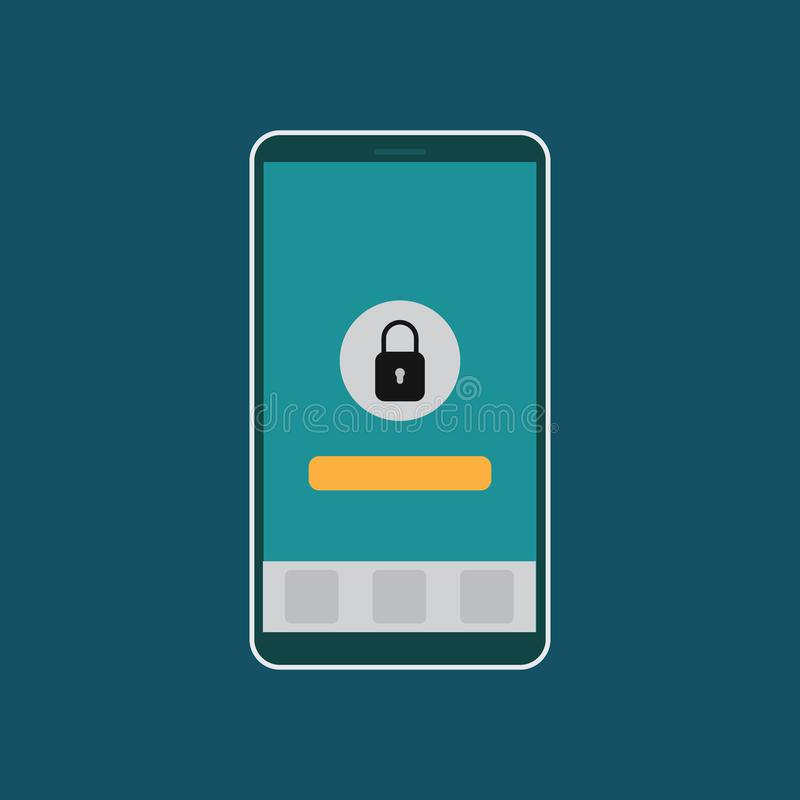 Veiligheid Smartphone, het mobiele pictogram van het telefoonhangslot vectoreps10 Smartphone met gesloten menu vector illustratie