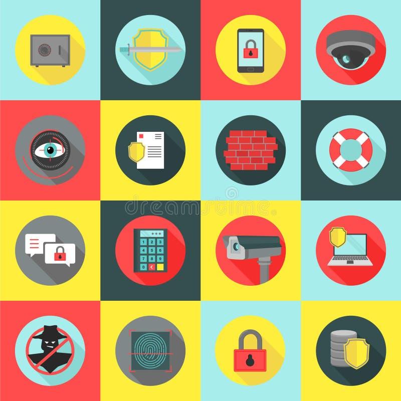Veiligheid & Veiligheidspictogramreeks stock illustratie