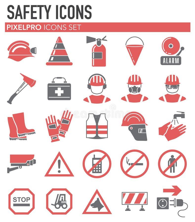 Veiligheids rode grijze pictogrammen op witte achtergrond voor grafisch en Webontwerp, Modern eenvoudig vectorteken Het concept v royalty-vrije illustratie