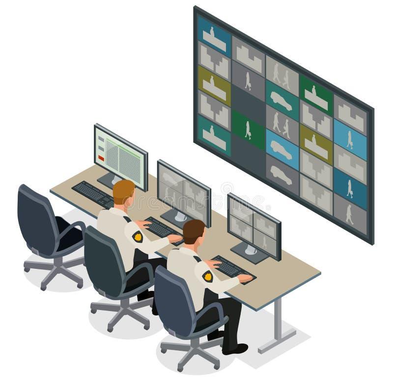 Veiligheidsagent die op het videoveiligheidssysteem van het controletoezicht letten Bemant in Controlekamer Controlerend Veelvoud vector illustratie