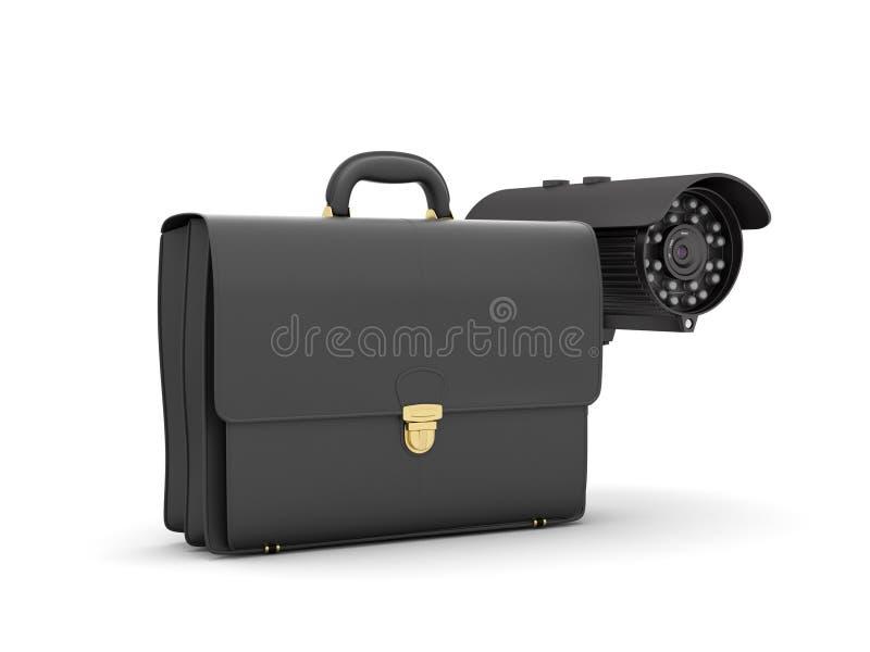 Veiligheidscamera en leeraktentas royalty-vrije illustratie