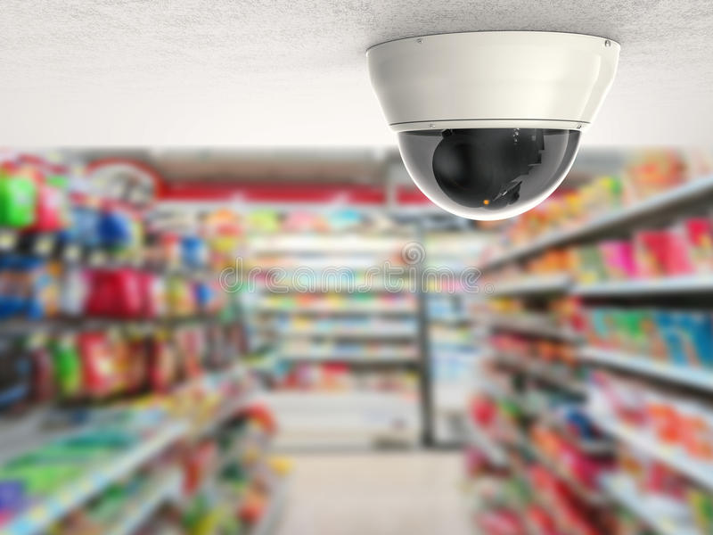 Veiligheidscamera of kabeltelevisie-camera op plafond royalty-vrije stock foto's