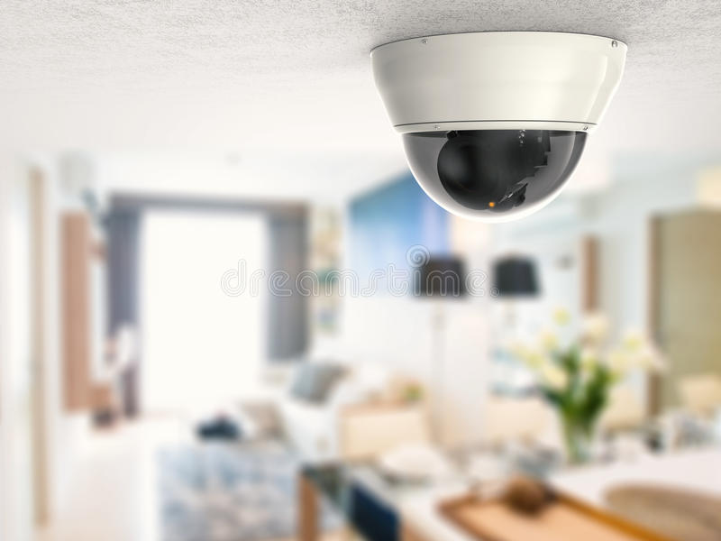 Veiligheidscamera of kabeltelevisie-camera op plafond royalty-vrije stock afbeeldingen