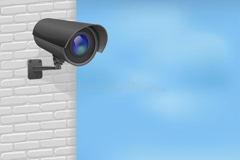 Veiligheidscamera op bakstenen muur Met blauwe hemel royalty-vrije illustratie