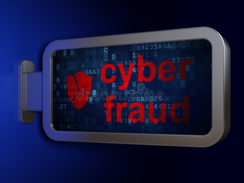 Veiligheidsconcept: Cyberfraude en Gebroken Schild op aanplakbordachtergrond vector illustratie