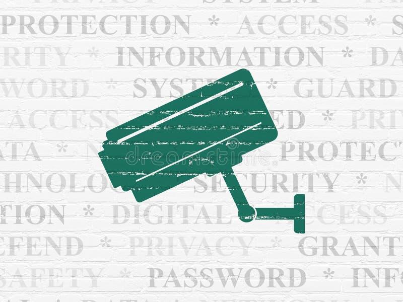 Veiligheidsconcept: Kabeltelevisie-Camera op muurachtergrond vector illustratie