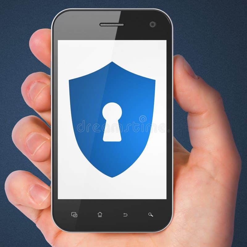 Veiligheidsconcept: Schild met Sleutelgat op smartphone royalty-vrije stock foto