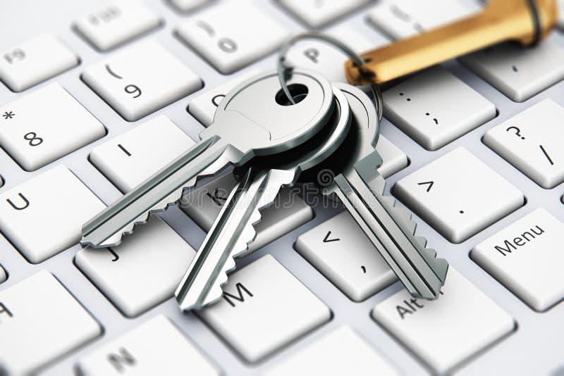 Veiligheidsconcept: sleutels op laptop toetsenbord stock illustratie