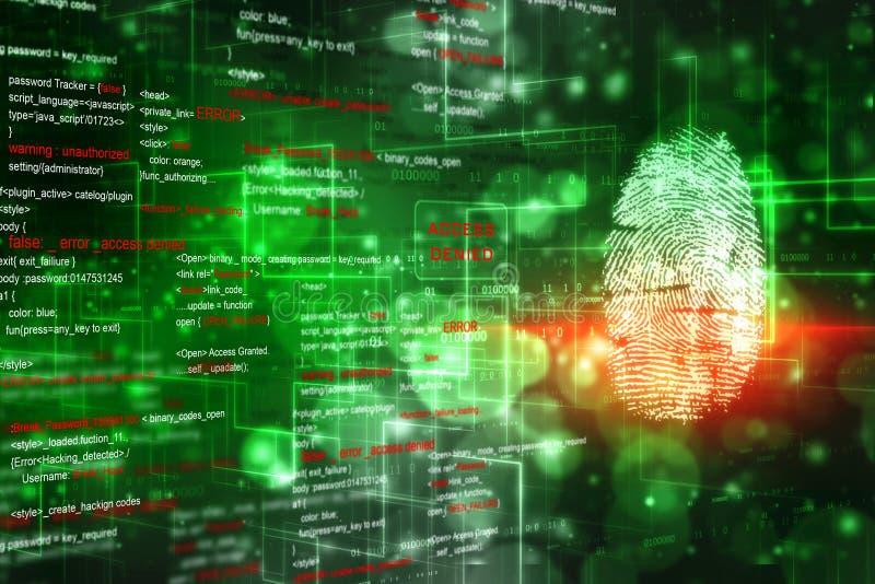 Veiligheidsconcept, vingerafdrukaftasten op het digitale scherm Het Concept van de Veiligheid van Cyber stock illustratie