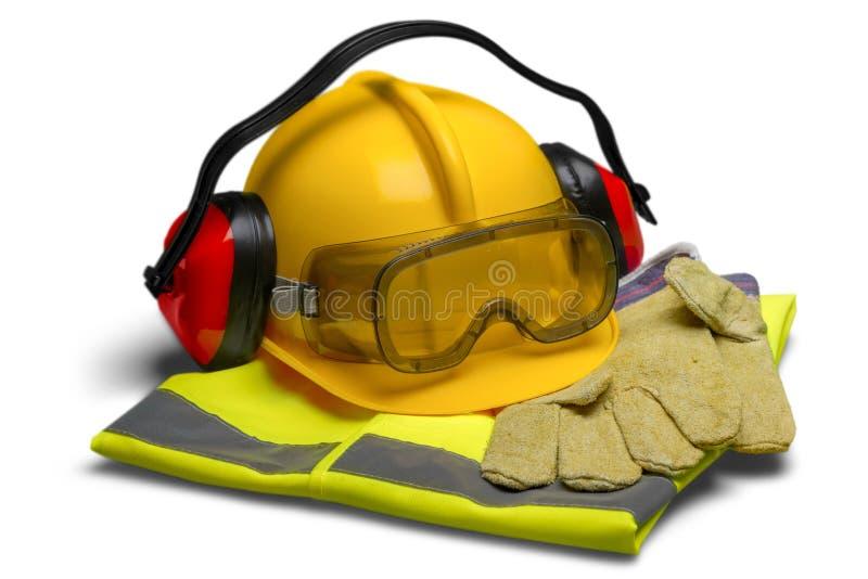 Veiligheidsmateriaal - Helm, Beschermende brillen, Oorbescherming royalty-vrije stock foto