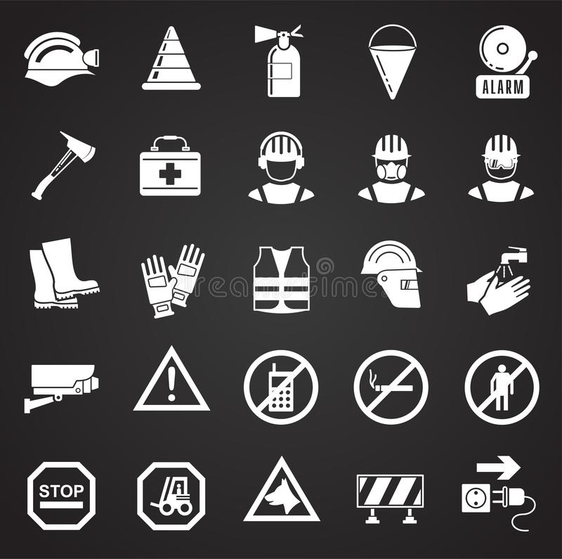 Veiligheidspictogrammen op zwarte achtergrond voor grafisch en Webontwerp, Modern eenvoudig vectorteken Het concept van Internet  stock illustratie
