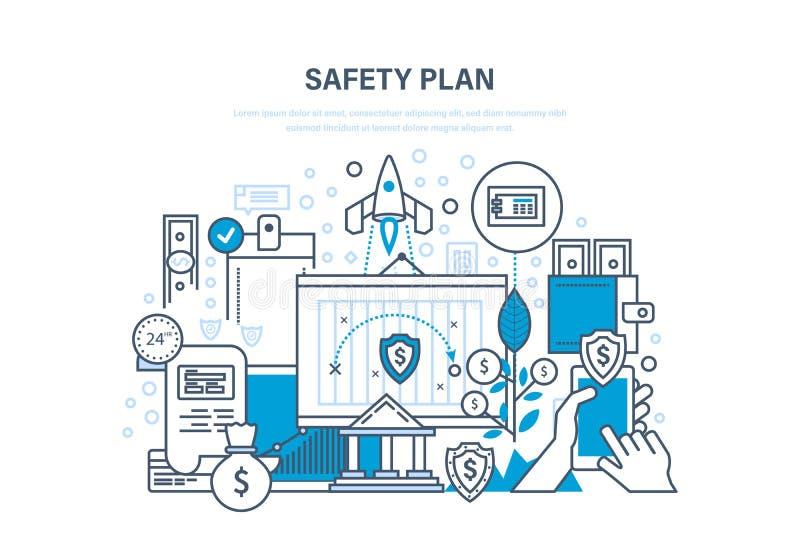 Veiligheidsplan Veilige opslag van financiële besparingen, gegevens, informatiebescherming vector illustratie
