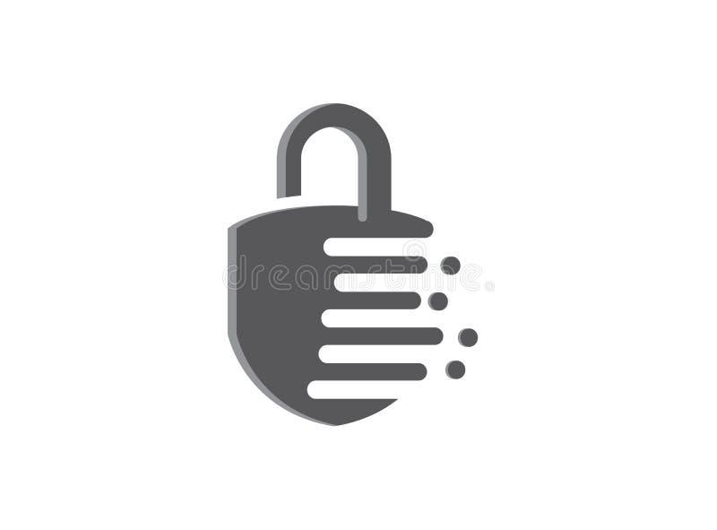 Veiligheidsslot met groef en wacht het ontwerpillustrator van Icon Logo met effect pictogram vector illustratie