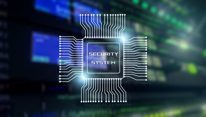 Veiligheidssysteem Bedrijfstechnologieconcept Inschrijving op de achtergrond van de bewerker en serverruimte stock foto