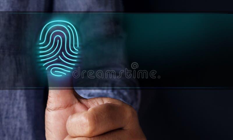 Veiligheidssysteem door Controleconcept, Mens die Fingerprin drukken royalty-vrije stock foto's