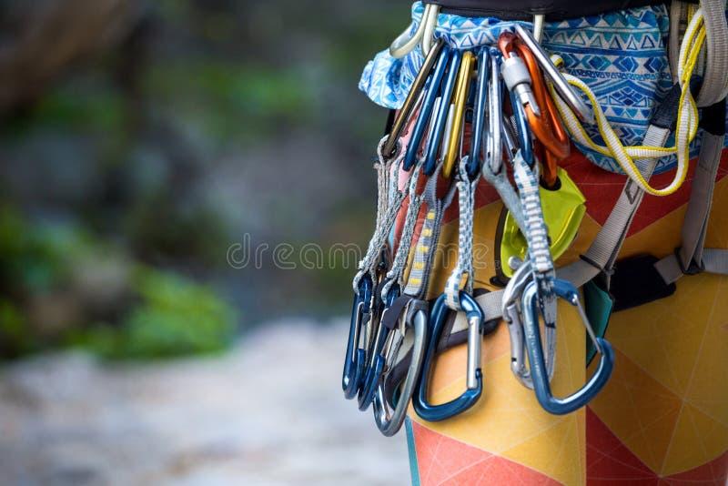 Veiligheidssysteem en quickdraw voor het beklimmen royalty-vrije stock foto