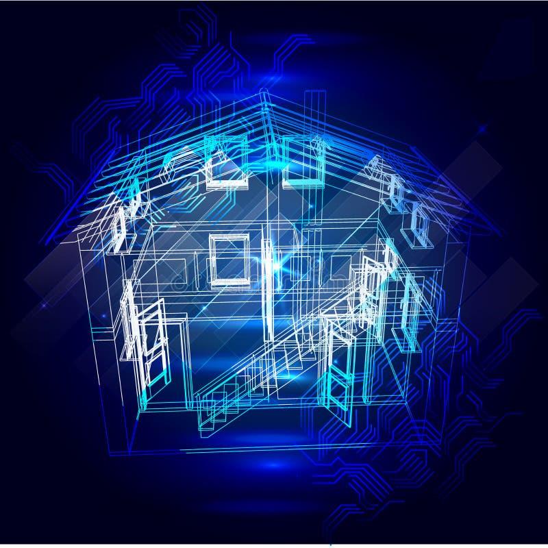 Veiligheidssysteem van slim huis 3d röntgenstraal van het huisplan royalty-vrije illustratie
