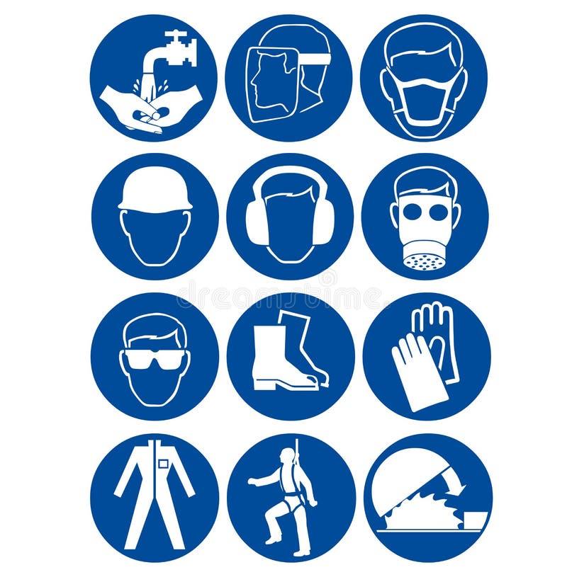 Veiligheidstekens op het werk stock illustratie