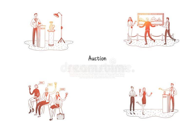 Veiling - mensen die en kunstwerken verkopen kopen tijdens reeks van het veilings de vectorconcept stock illustratie