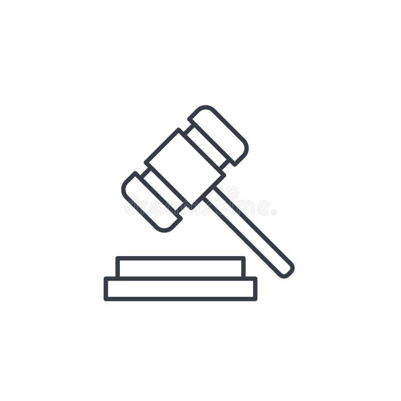 Veilingshamer, wet en rechtvaardigheidssymbool, pictogram van de oordeels het dunne lijn Lineair vectorsymbool stock illustratie