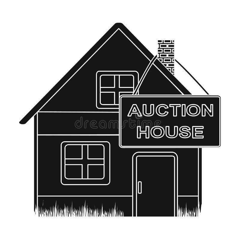 Veilingshuis voor verkoop Elektronische handel enig pictogram in zwarte stijlvector vector illustratie