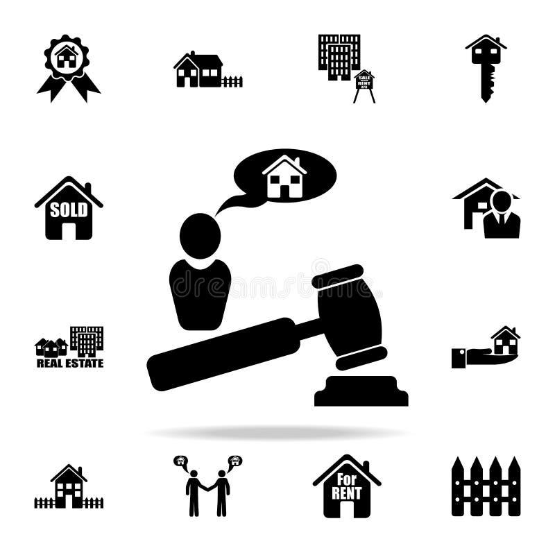 veilingshuis voor verkooppictogram Voor Web wordt geplaatst dat en het mobiele algemene begrip van onroerende goederenpictogramme royalty-vrije illustratie